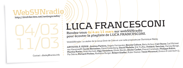 webSYNradio lfrancesconi-websynradio-fr600 Luca Francesconi Podcast Programme  Revue Droit de cites