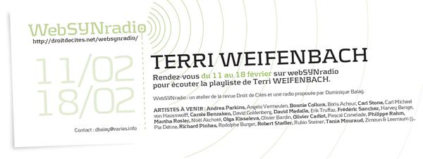 webSYNradio tweifenchach-websynradio-fr600 Terri Weifenbach Podcast Programme  Revue Droit de cites