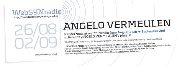 webSYNradio angelo-vermeulen-websynradio-english600 Angelo Vermeulen : une proposition sonore Podcast Programme  Revue Droit de cites