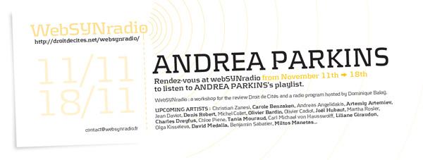 webSYNradio a-parkins-websynradio-en600 Andrea Parkins Podcast Programme  Revue Droit de cites