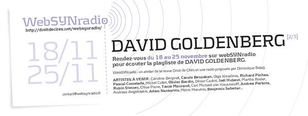 webSYNradio dgoldenberg2-websynradio-fr600 Deuxième volet du programme de David Goldenberg sur webSYNradio Podcast Programme  Revue Droit de cites