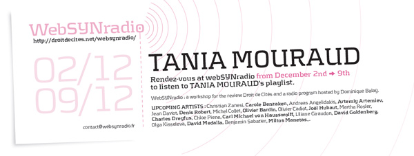 webSYNradio tania-mouraud-websynradio-english600 Une contribution sonore de Tania Mouraud Podcast Programme  Revue Droit de cites
