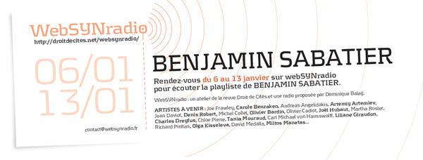 webSYNradio b-sabatier-websynradio-fr600 Quelques rires de Benjamin Sabatier Podcast Programme  Revue Droit de cites
