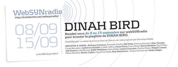 webSYNradio dinah-bird-websynradio-600fr1 Dinah Bird : Island Radio magic et plus ! Podcast Programme  Revue Droit de cites
