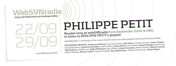 webSYNradio philippe_petit-websynradio-600eng Philippe Petit : Guitar Heroic Podcast Programme  Revue Droit de cites