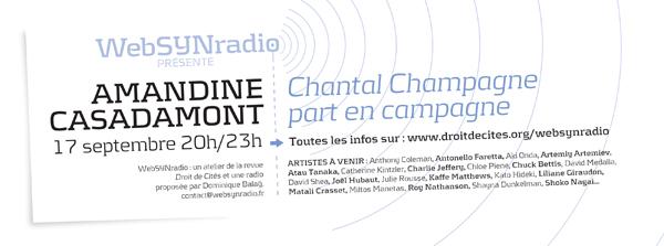 webSYNradio webSYNradio-flyer-amandine_CASADAMONT-600-fra Amandine Casadamont : Chantal Champagne part en campagne Podcast Programme  Revue Droit de cites chantal champagne Amandine Casadamont