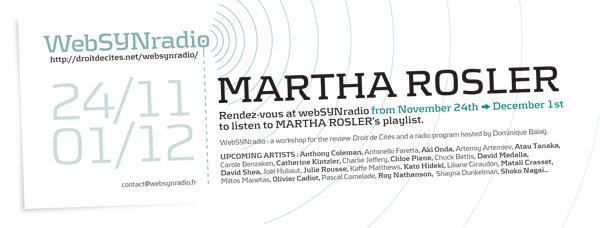 webSYNradio SYN-flyer107-ROSLER-eng600 Martha Rosler, Un programme fleuve Podcast Programme  Revue Droit de cites