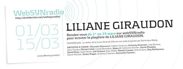 webSYNradio webSYNradio-flyer117-GIRAUDON-fra600 Liliane Giraudon : POSTCARDS POUR ANTONIO GRAMSCI Podcast Programme  Revue Droit de cites