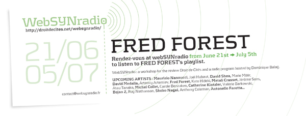 webSYNradio webSYNradio-flyer125-FOREST-eng Fred Forest inédit Podcast Programme  Revue Droit de cites